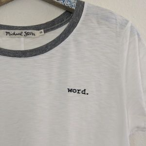 Michael Stars Tops - Micheal Stars Word Embroidered Crew Ringer Tee